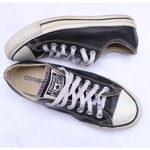 Converse Black Leather Low Top Sneakers